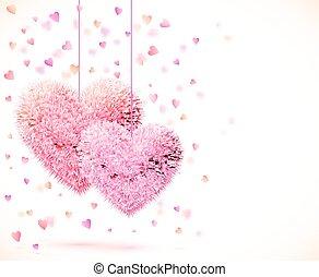 rosa, par, de, corazones, día de valentines, plano de fondo