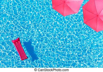 rosa, paraguas, agua, sobre, matrass, piscina