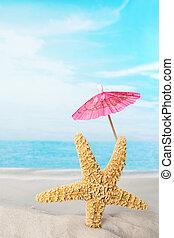 rosa, parasol, estrellas de mar