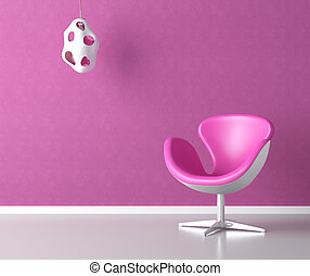 rosa, pared, copia, interior, espacio