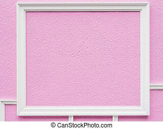 rosa, parete, bianco, cornice