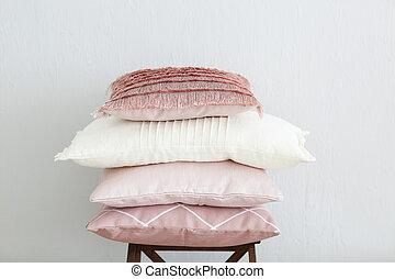 rosa, parete, bianco, cuscini, fondo
