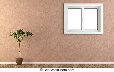 rosa, parete, con, finestra, e, pianta