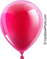 rosa, parti, balloon, födelsedag, eller