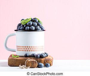 rosa, pastel, estilo, arándanos, esmalte, maduro, de madera, país, encima, rústico, jarra, tabla, plano de fondo, fresco