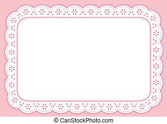 rosa, pastel, mantel individual, encaje, ojete