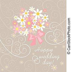 rosa, pastel, ramo, margarita, boda, blanco, tarjeta