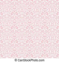 rosa, pastell,  &, Damast,  seamless, vit