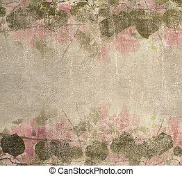 rosa, pastell, grunge, lövverk, ram, bougainvillea, bakgrund