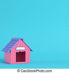 rosa, pastello, doghouse, blu, colori luminosi, fondo