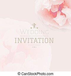 rosa, pastello, invito matrimonio