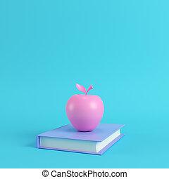rosa, pastello, mela, blu, colori luminosi, libro, fondo
