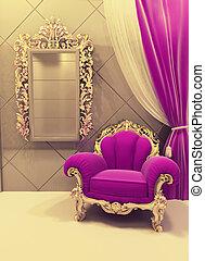 rosa, patrón, real, lujoso, interior, muebles