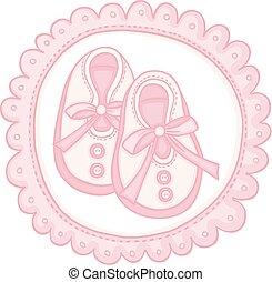 rosa, pattini bambino, rotondo, etichetta