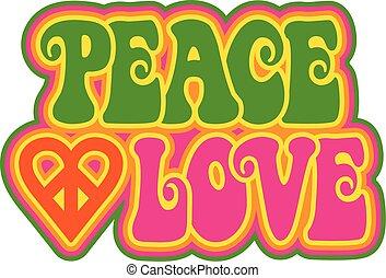 rosa, paz verde, amor