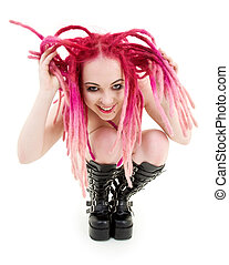 rosa, pelo alto, niña, botas
