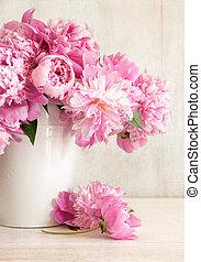 rosa, peonías, florero