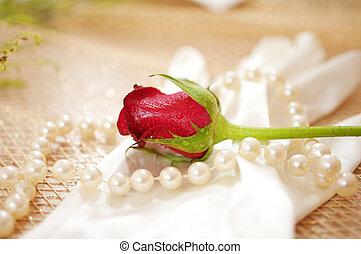 rosa, perlas, guante, vendimia