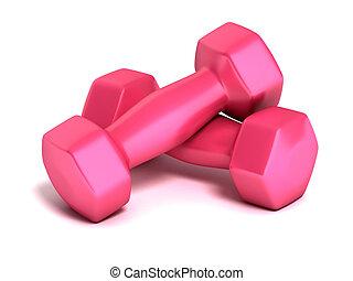 rosa, pesas, condición física