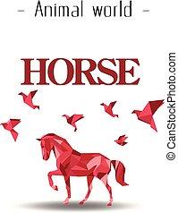rosa, pferd, polygon, tier, bild, vektor, hintergrund, welt, vogel
