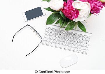 rosa, pfingstrose, handy, arbeitsplatz, tastatur, blumen, brille