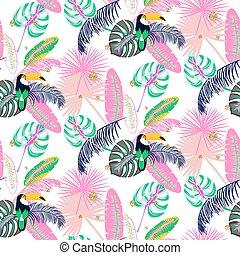 rosa, pflanze, blätter, pattern., seamless, monstera, tukan...