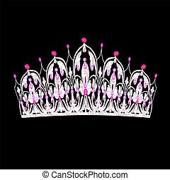 rosa, piedras, mujeres, boda, precioso, tiara