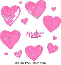 rosa, pintado, aislado, vector, marcador, corazones