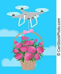 rosa, pioner, kärlek, gåva, bukett, leverera, valentinbrev, drönare, korg, dag