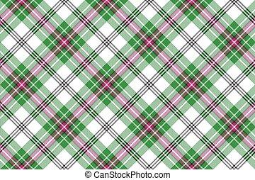 rosa, plaid, diagonale, seamless, sfondo verde, tartan, bianco