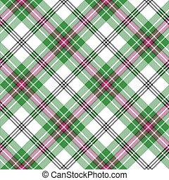 rosa, plaid, modello, diagonale, seamless, verde, tartan, bianco