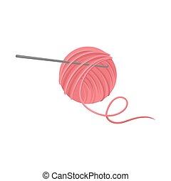 rosa, plano, pelota, metal, theme., hilo, handicraft., vector, hook., croché, pasatiempo, lana, herramientas, icono