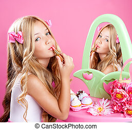 rosa, poco, moda, lápiz labial, muñeca, maquillaje, niña, niños, vanidad