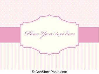 rosa, polka, cornice, disegno, puntino