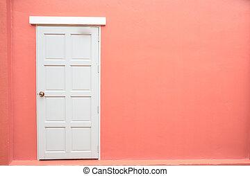 rosa, porta, classico, colorare, vendemmia, parete, fondo, bianco