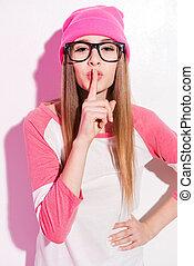 rosa, posición, valor en cartera de mujer, ella, headwear, labios, joven, contra, retener, juguetón, mientras, dedo, plano de fondo, eyewear, blanco, mi, secret!
