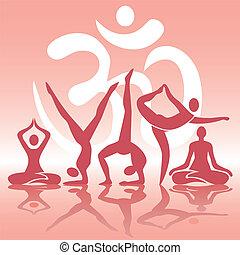 rosa, positionen, silhouetten, joga