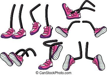 rosa, posizioni, differente, gambe, scarpe