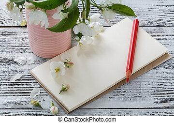 rosa, postal, de madera, vendimia, escritura, flowers., nota, flores, primavera, mesa.