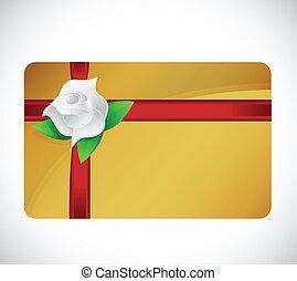 rosa, presente, desenho, cartão, ilustração