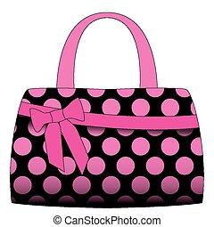 rosa, pricken, polka, vektor, svart, handväska