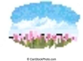 rosa, primavera, tulips., fondo, vector.