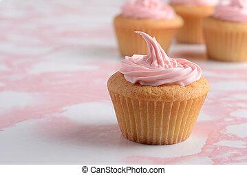 rosa, primer plano, glaseado, cupcake