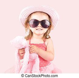 rosa, princesa, gafas de sol, joven, niño