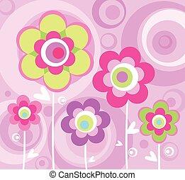 rosa, prydnad, blommig