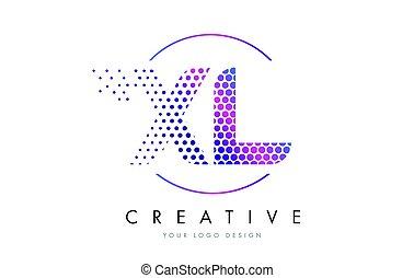rosa, punteado, xl, l, vector, diseño, letra x, logotipo, magenta, burbuja