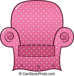 rosa, punteggiato, clipart, ), (, isolato, vettore, sedia, bianco