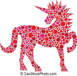rosa, puntos, polca, ilustración, unicornio