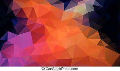 rosa, puprle, triángulo, polígono, irregular, color, patrón, resumen, -, poly, vector, negro, bajo, plano de fondo, vibrante, naranja, neón