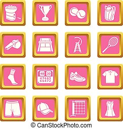 rosa, quadrato, icone, tennis, vettore, set